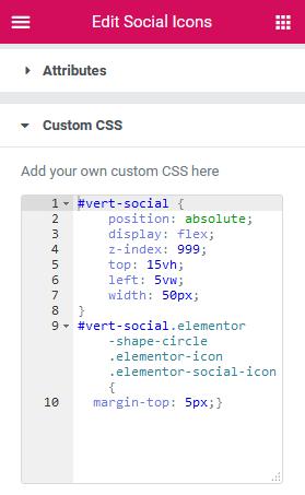 elementor vertical social icons